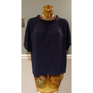 Vince Camuto top blouse XL navy blue short sleeve
